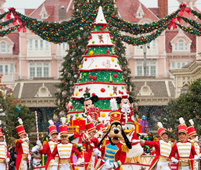 Christmas Parade With Disney Characters On Main Street U S A