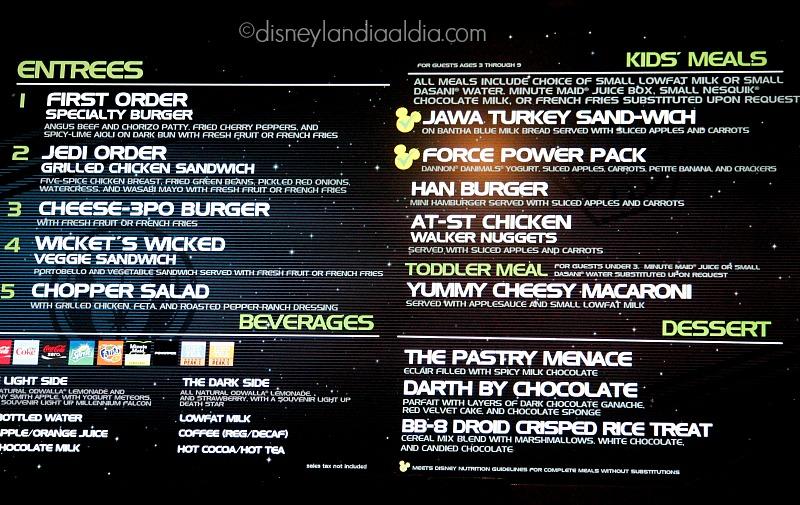 Menú del Galactic Grill en Disneylandia - disneylandiaaldia.com