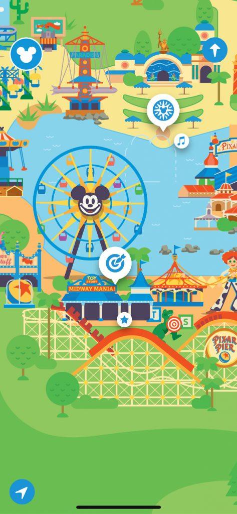 Escena de Disney California Adventure en el Play Disney Parks App