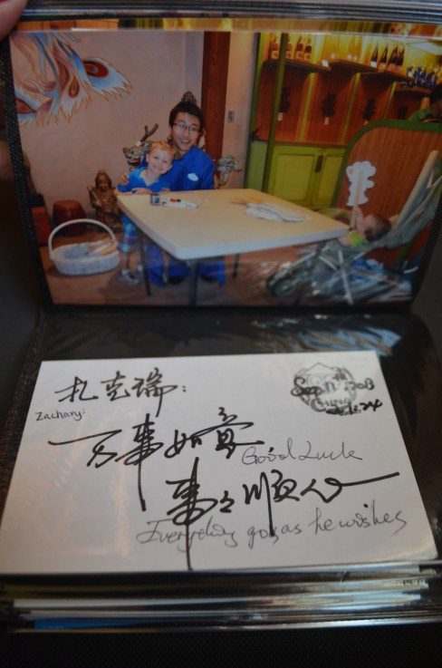 Beautifully penned message from China: Zachary: Good luck. [Hope] Everything goes as he wishes.