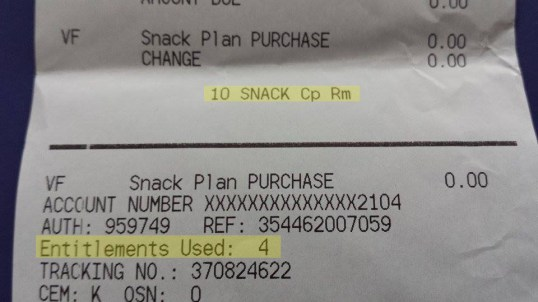 Snack receipts also show how many snack credits you used with that purchase and how many you have left