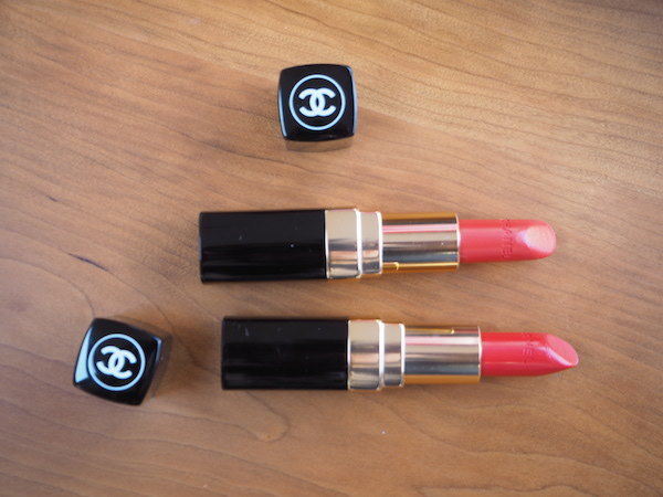 Chanel Rouge Coco in Coco (top) and Arthur (bottom)