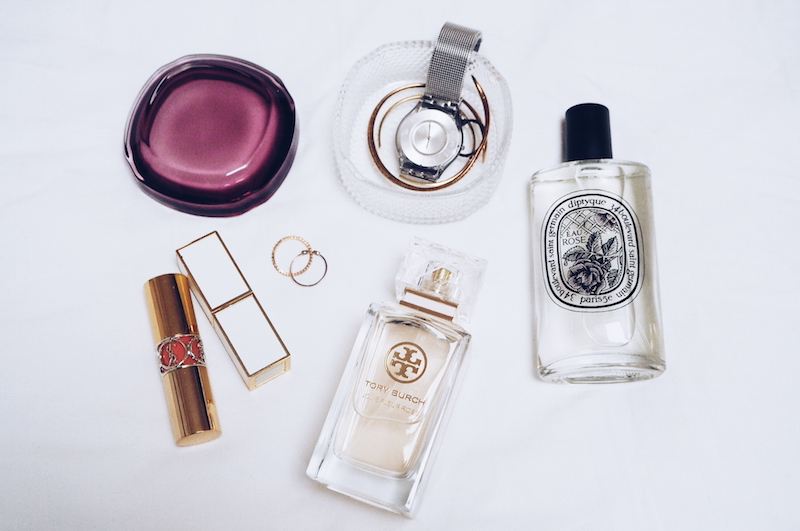 Diptyque Eau Roses and Tory Burch Jolie Fleur Rose
