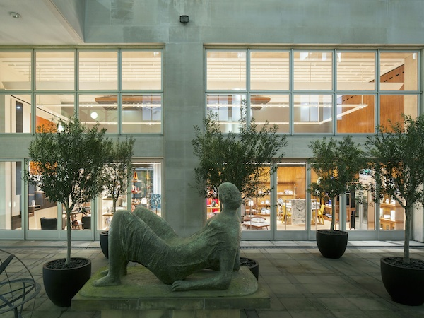 Hermes reopens Bond street flagship with Henry Moore sculpture Draped Reclining Figure on view to the public