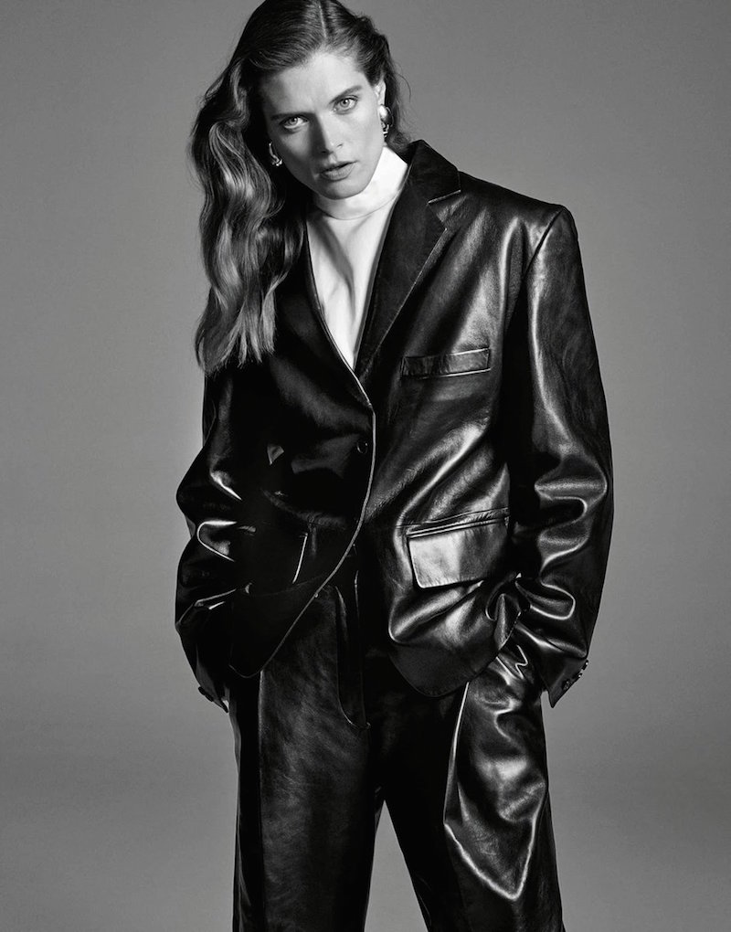 Leather blazer trend in Porter magazine. Photography by Alexandra Nataf, styling by Morgan Pilcher