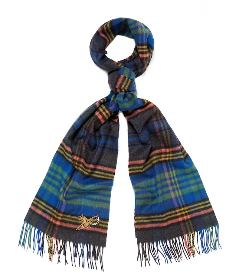 Vivienne Westood x Johnstons of Elgin blue tartan scarf
