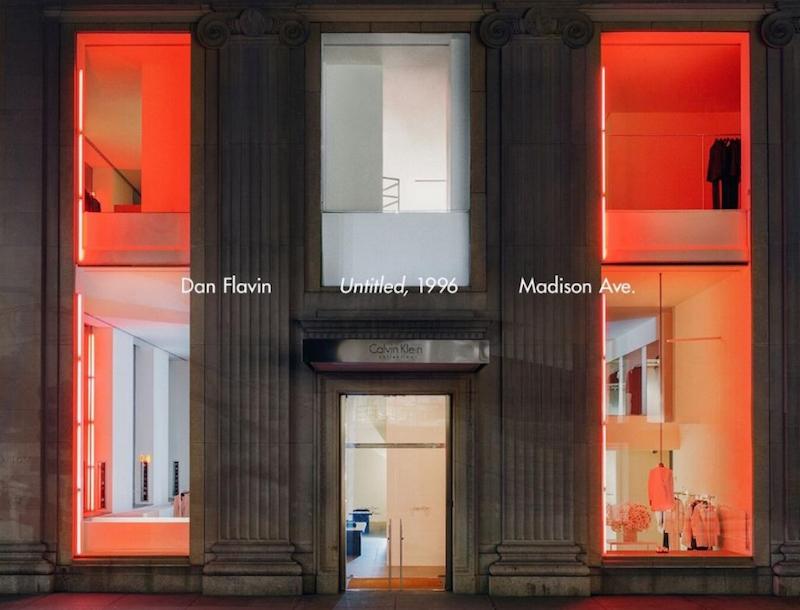 raf simons for calvin klein creates drama with a dan flavin in store installation
