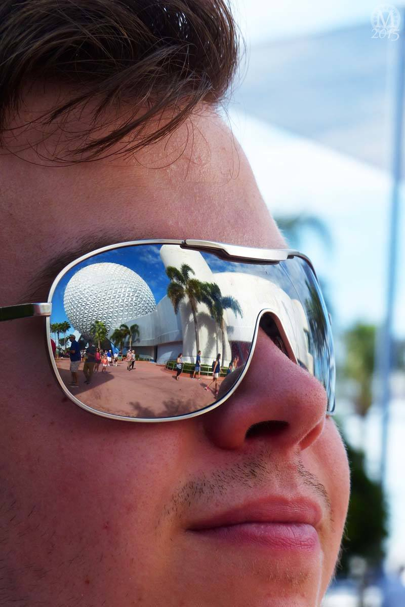 Reflection of Spaceship Earth in Sunglasses