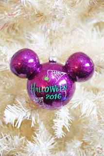 Purple Mickey Head Halloween Ornament