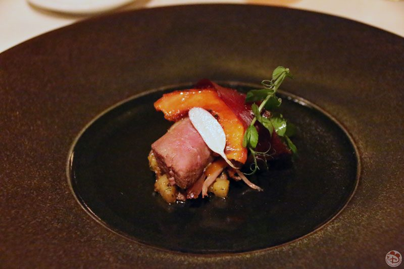 Smoked Rohan Duck with Peaches and Celery Root