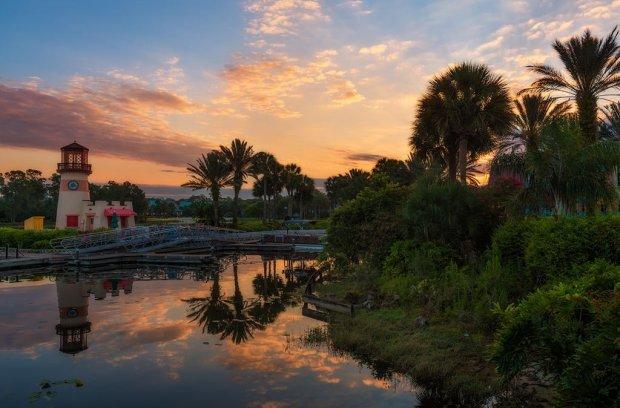 caribbean-beach-sunrise-lighthouse-disney-world