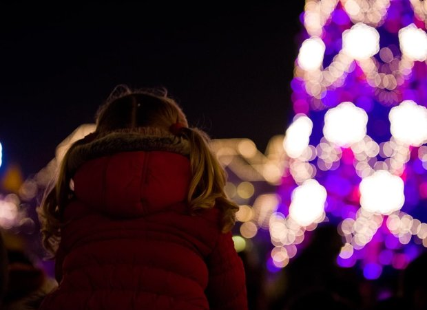 Young Girl Christmas Tree Lighting