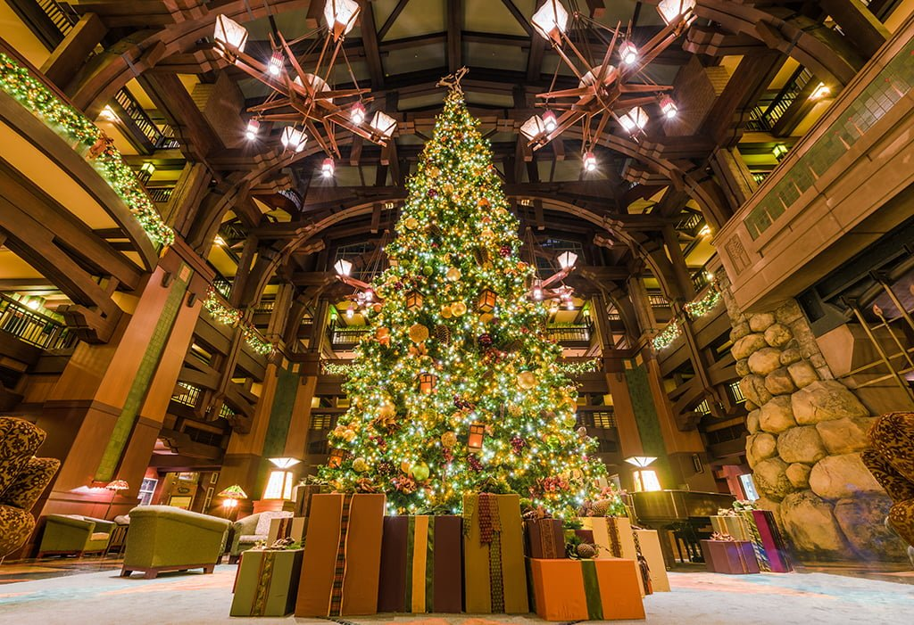 resort hotels downtown disney grand californian hotel christmas tree wide low copy - Downtown Disney Christmas
