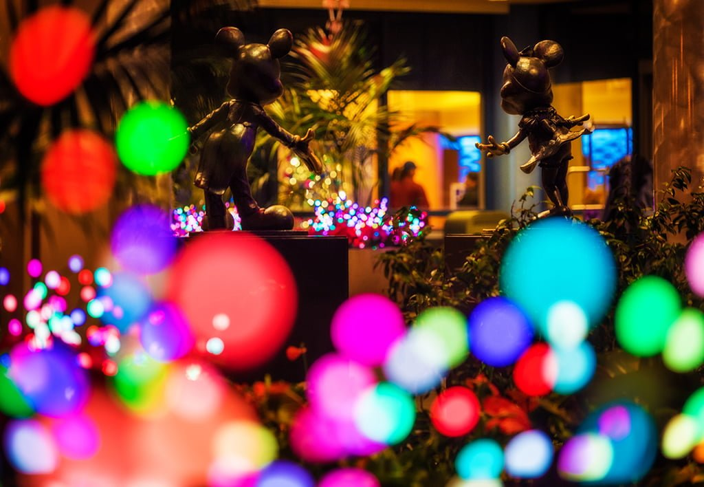 disneyland hotel exterior mickey mouse minnie bokeh - Mickey Mouse Christmas Lights