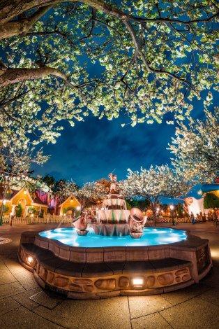 toontown-blossoms-night-mickey-fountain-tokyo-disneyland
