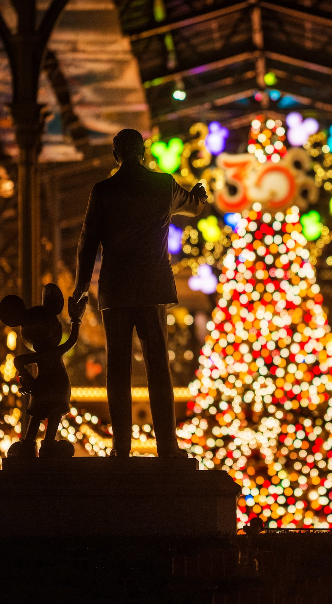 Walt Disney Mickey Mouse Christmas Trees Phone Wallpaper