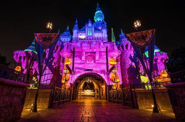 halloween-party-low-angle-sleeping-beauty-castle-disneyland