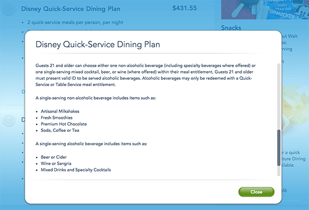 2020 Disney Dining Plan Includes Alcohol Disney Tourist Blog