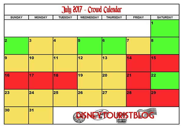 July Disneyland Crowd Calendar Disney Tourist Blog