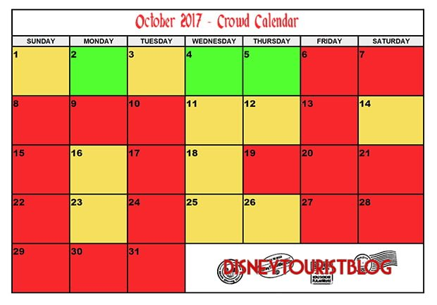 October Disneyland Crowd Calendar Disney Tourist Blog