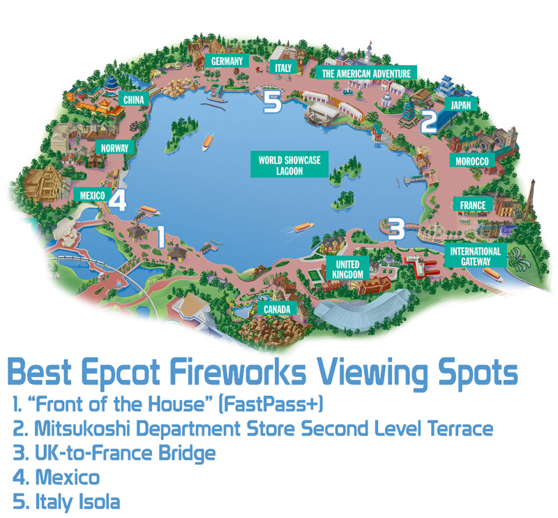 Best Epcot Forever Fireworks Viewing Spots - Disney Tourist Blog