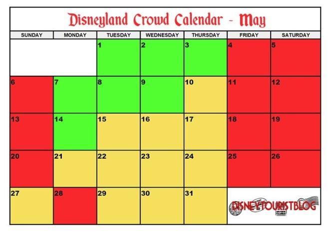 May Calendar Los Angeles : May disneyland crowd calendar disney tourist