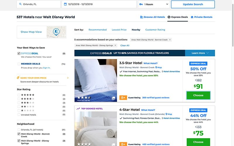 How To Use Priceline Express Deals