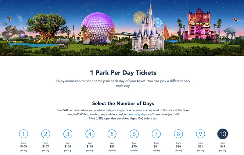 Picture of a disney world ticket prices increase