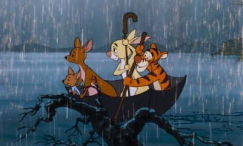 Tigger Rabbit Kanga And Roo Paddle Up In An Umbrella Eeyore Arrives On A Floating Door He Was Still Looking For New House Owl