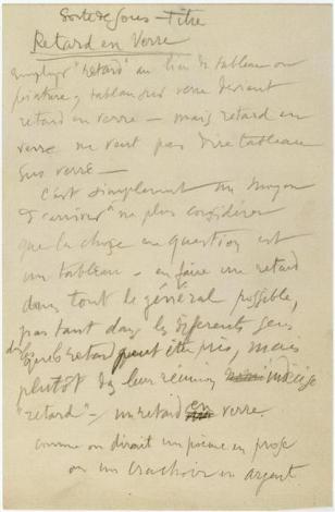 """Marcel Duchamp (28 Jul 1887 - 2 Oct 1968) Sorte de sous-titre / Retard en Verre (Note autographe pour """"Le Grand verre"""") 1912"""