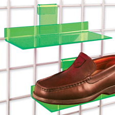 Acrylic shoe shelf green finish