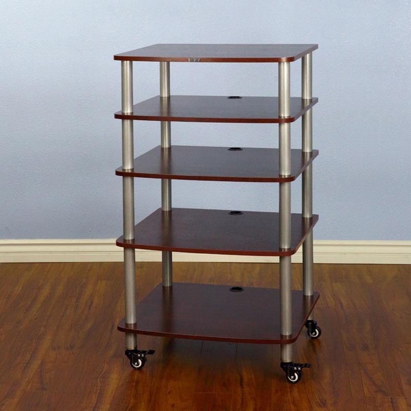 vti ar405sc ar series 5 shelf audio rack silver pole cherry shelf