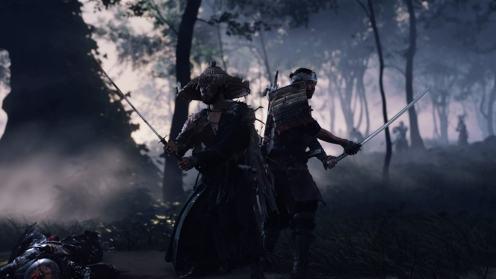 Ghost of Tsushima Jin dos à dos avec Ryuzo, tels des frères