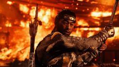 Ghost of Tsushima Jin devant une explosion digne des films de Nolan