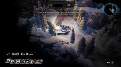 Un tank à coté d'un chaletdans un paysage enneigé