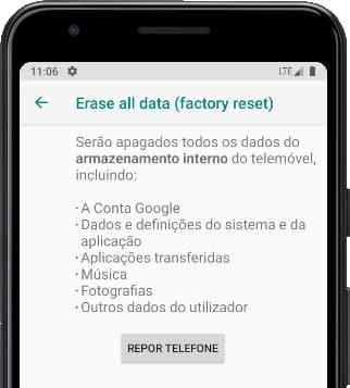 Repor telefone Android