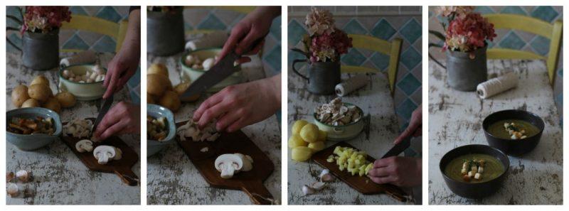 vellutata di patate, porri e funghi preparazione