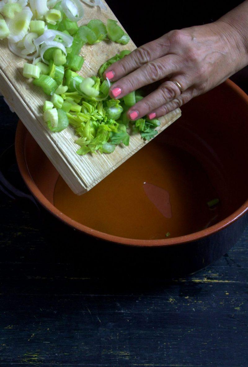 zuppa di baccalà e fagioli e porri