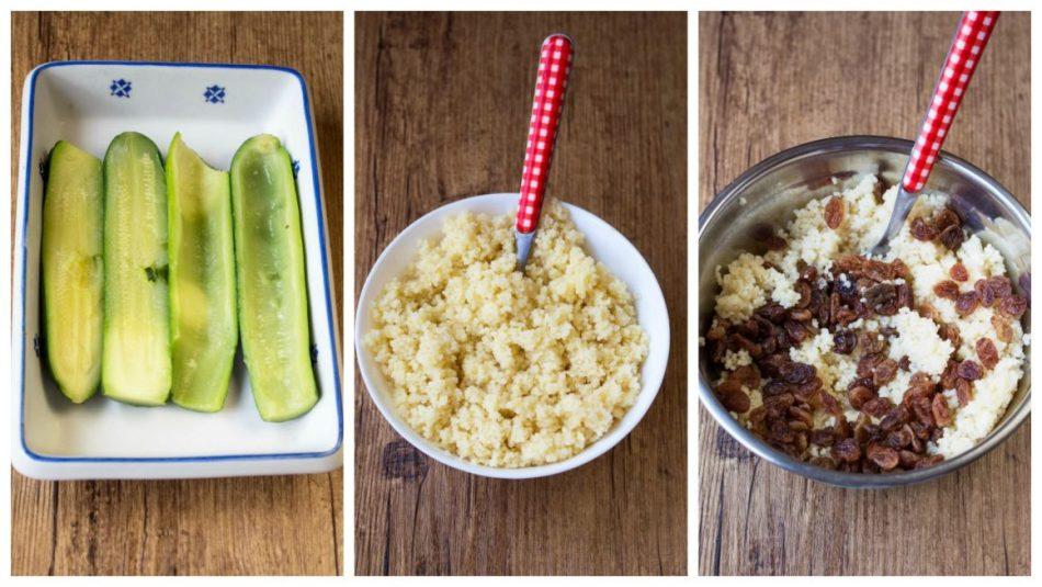 zucchine lesse, couscous cotto, cous cous con aggiunta di uvetta