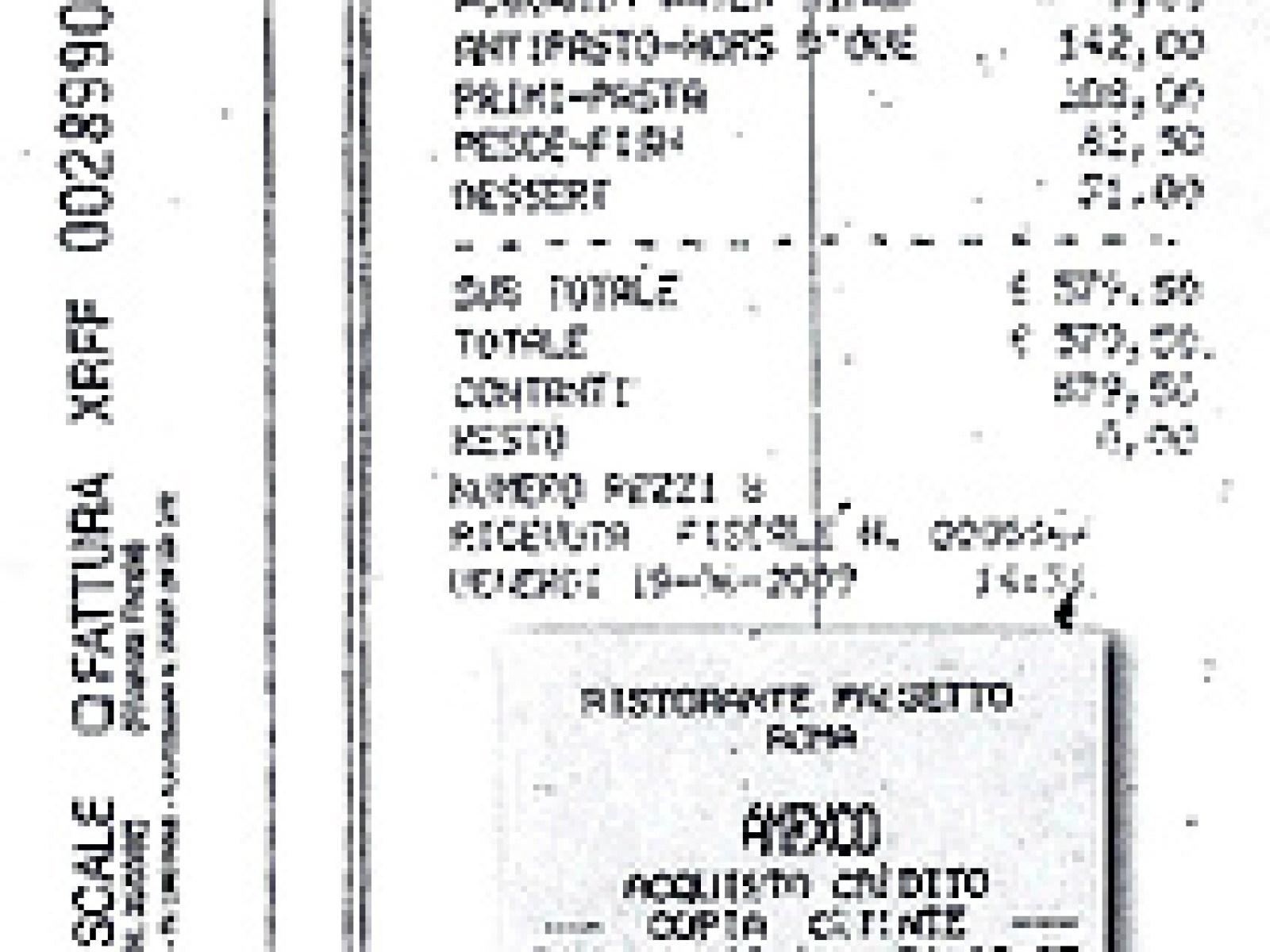 Scontrino e ricevuta fiscale del Passetto