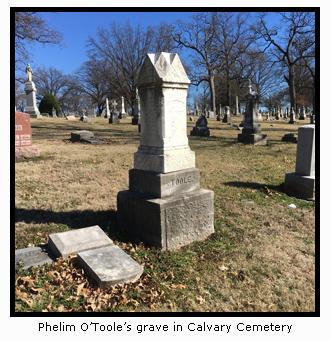 Phelim O'Toole's Grave in Calvary Cemetery