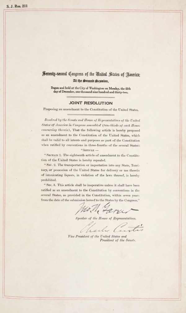 Repeal of Prohibition Ratified at 5:32pm 1933 – 13 Year ...