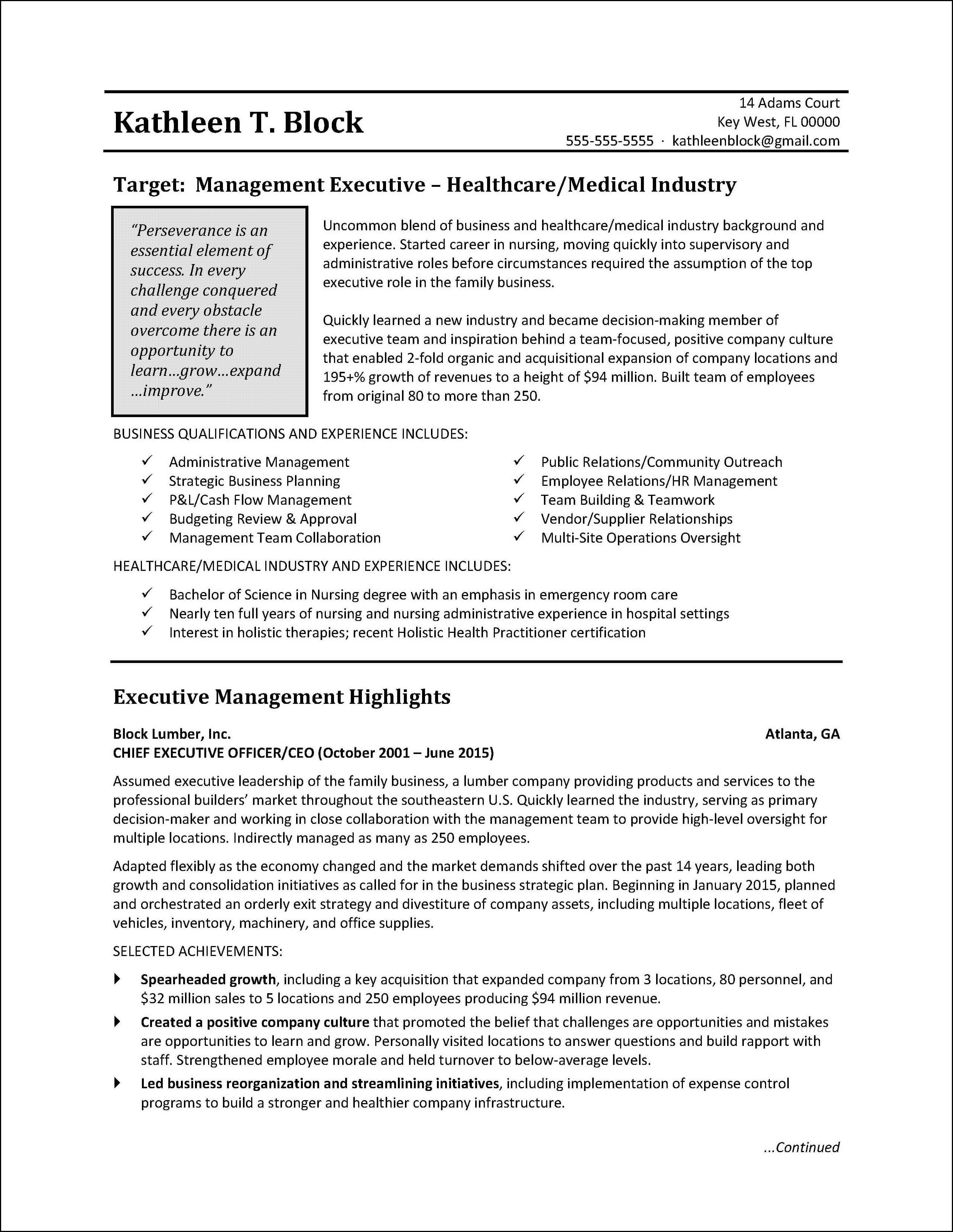 Management Resume Sample