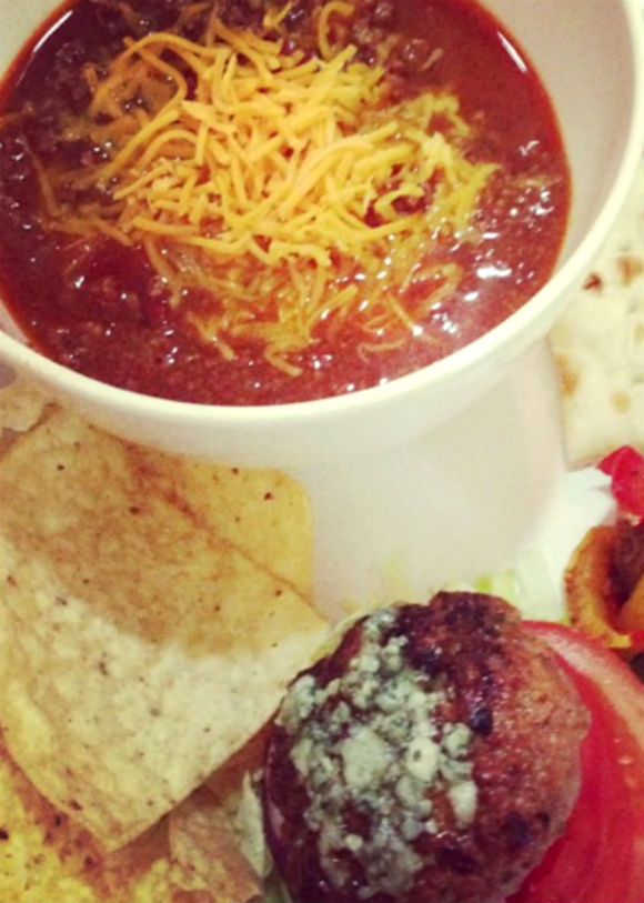 A bowl of chili goes well alone, or sprinkle some shredded cheese on top and pair with tortilla chips and hamburgers.