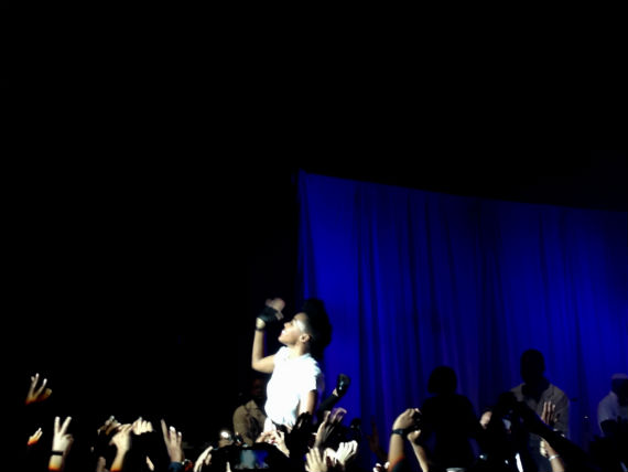 Monae jumped into the crowd during her performance.