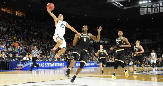 Angel Rodriguez goes up to make a layup against Wichita St. in the second round of the NCAA Tournament / Hurricanesports