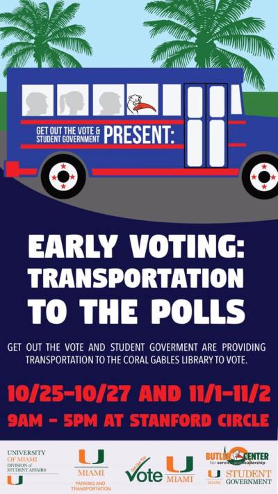 One of the University of Miami's Student Government's initiatives this year included transporting students, faculty and administration to go vote. The partnership with Get Out The Vote has provided easy transportation for many to exercise their right to vote. Source: Student Government Facebook.