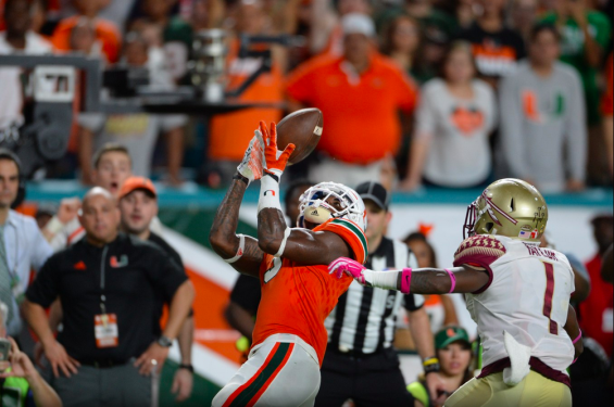 Miami's Stacy Coley hauls in a touchdown in the second quarter of a game against Florida State. (hurricanesports)