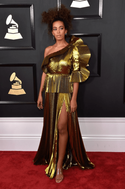 Solange Knowles at the 59th Annual Grammys. Solange is wearing a Gucci dress and Maryam Nassir Zadeh shoes. Source: POPSUGAR