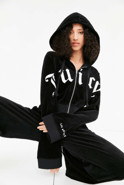 A new take on the classic Juicy Couture velour tracksuit. It incorporates bell sleeves and has a crop, box fit. Source: Urban Outfitters.